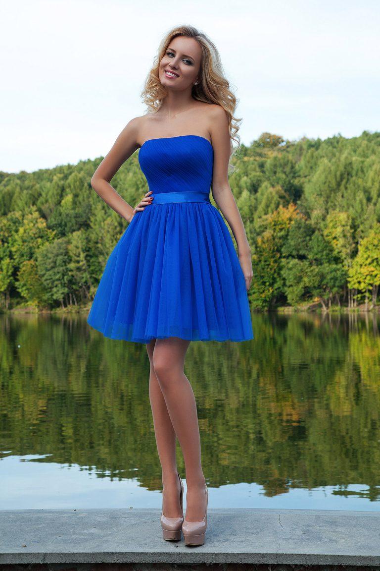Robe de cocktail bleu saphir