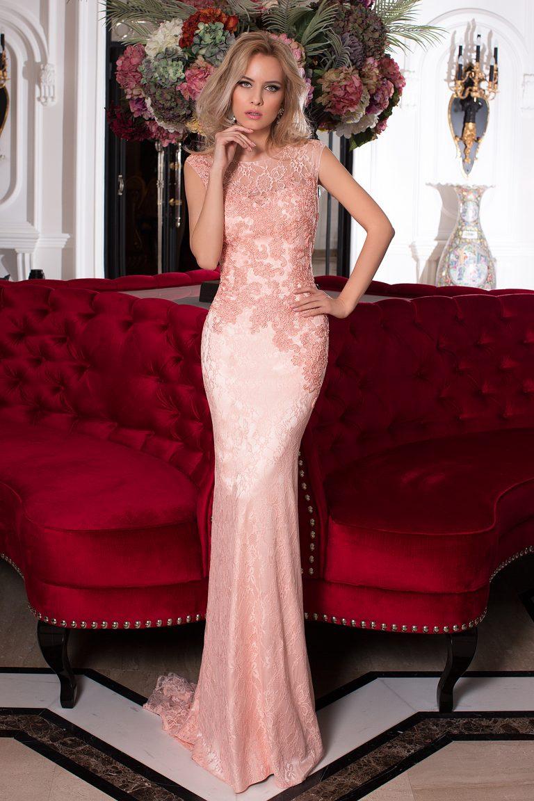 Robe de soirée rose coupe fourreau