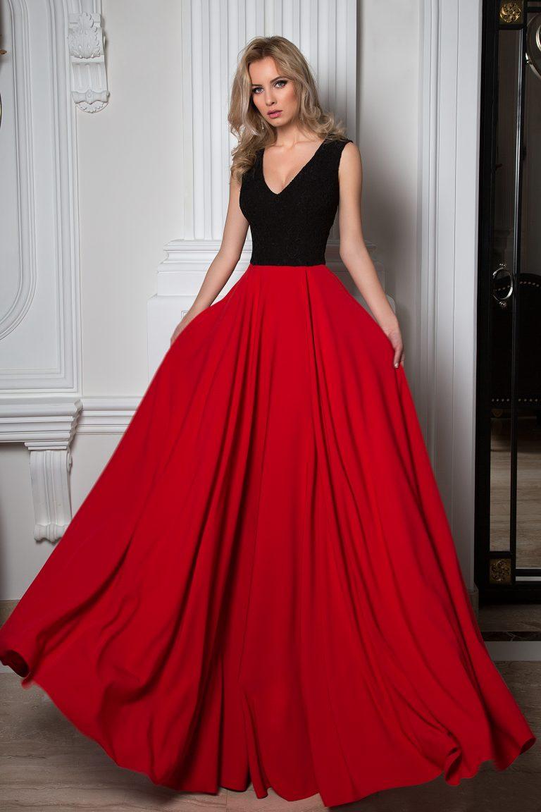 Robe de soirée rouge et noire