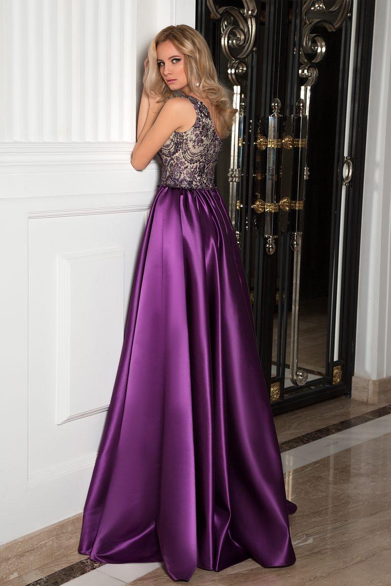 robe de cocktail violette en satin duchesse oksana mukha paris. Black Bedroom Furniture Sets. Home Design Ideas