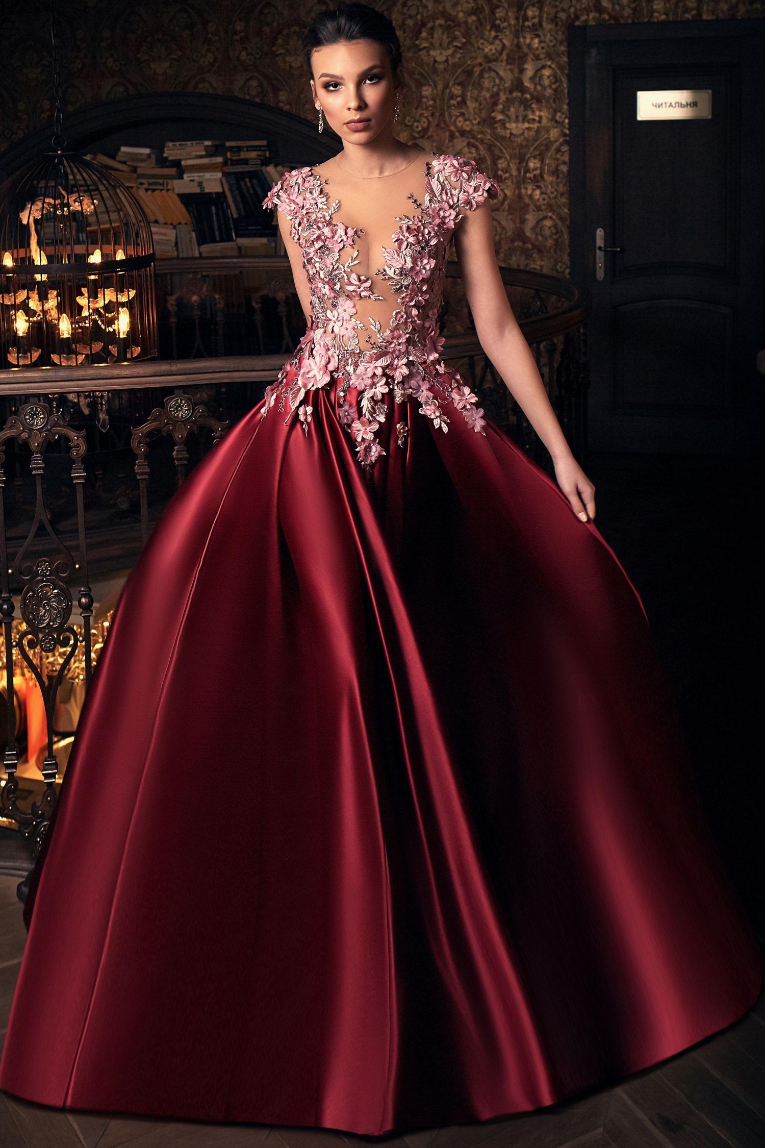 robe de soir e longue de luxe semi transparente rose et pourpre. Black Bedroom Furniture Sets. Home Design Ideas