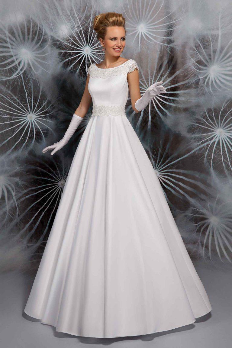 Robe de mariée à col rond