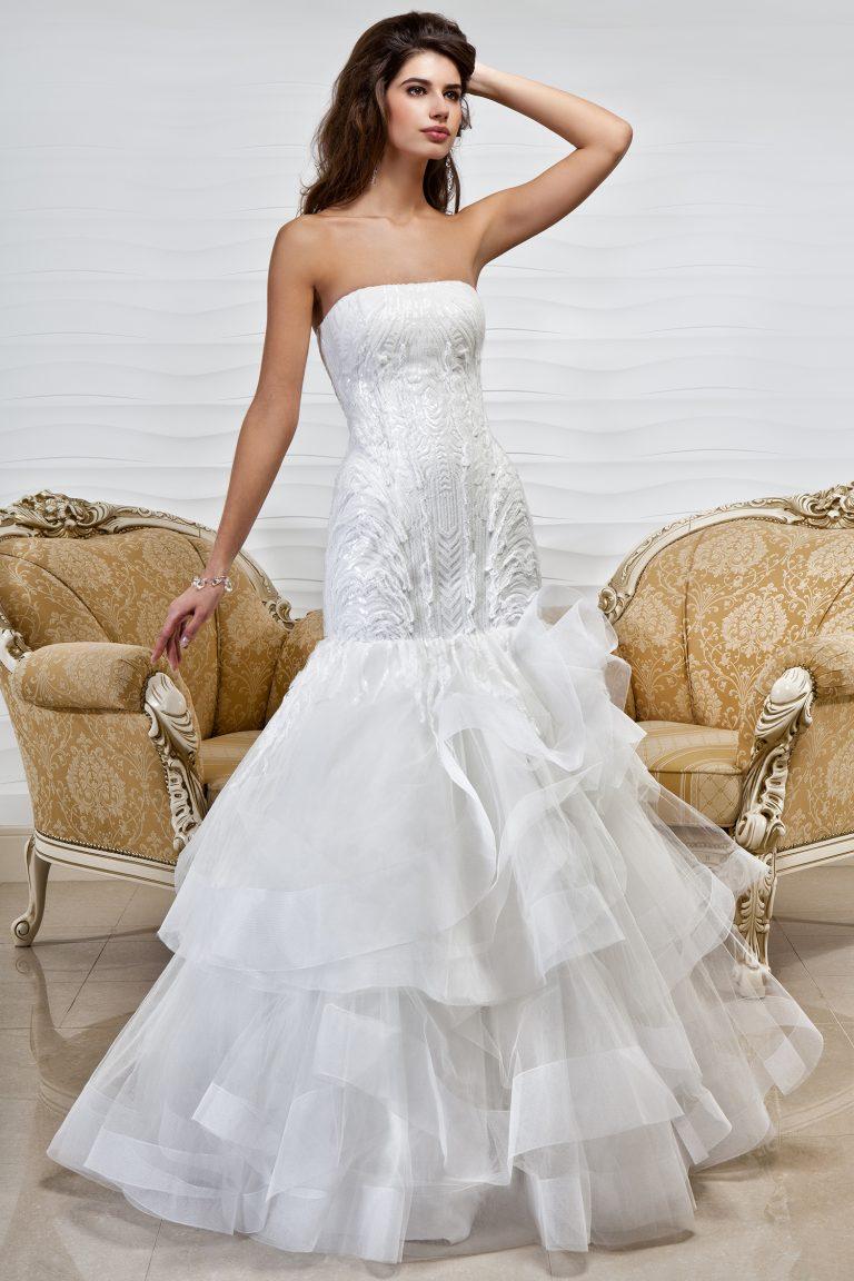 Robe de mariée sirène à volants