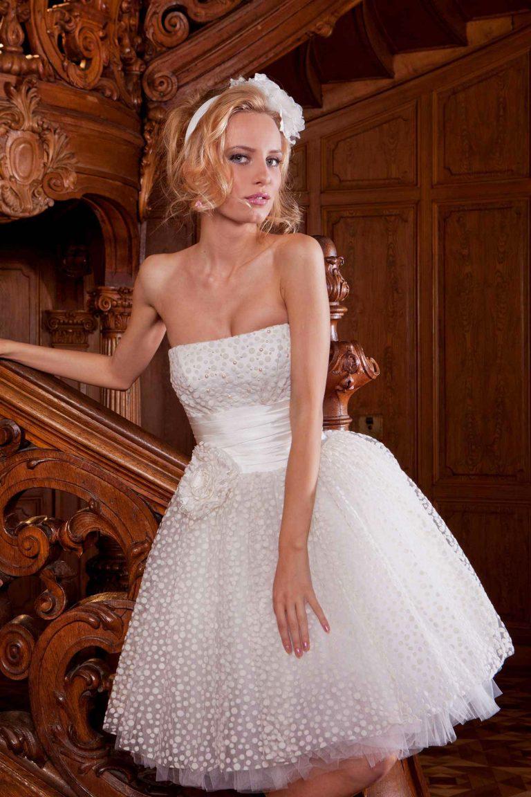 Robe de mariée courte en plumetis