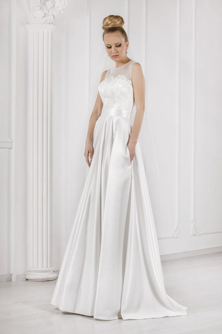 Robe de mariée 2 en 1 bustier dentelle guipure