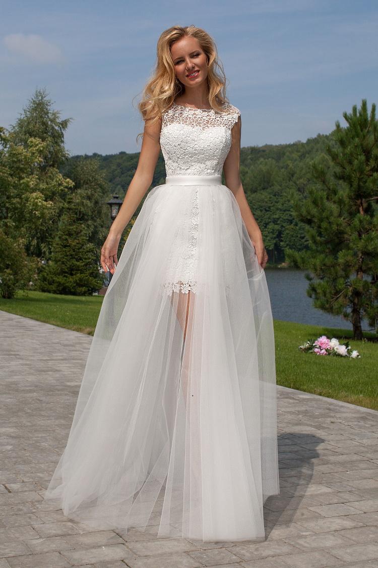 robe de mariee courte avec traine detachable