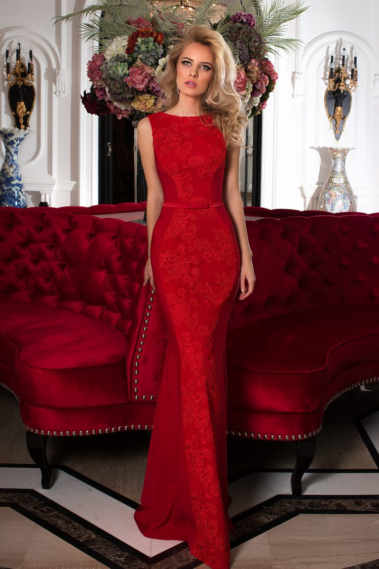 Robe longue cocktail rouge