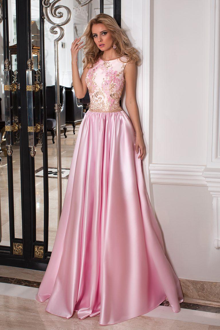 Robe de soirée bustier dentelle rose