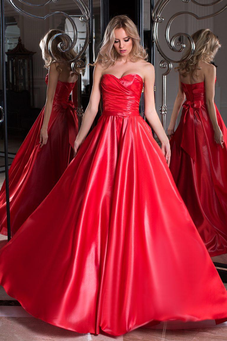 Robe de soirée rouge silhouette en A