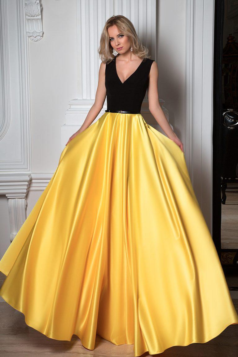 Robe de soirée jaune et noire