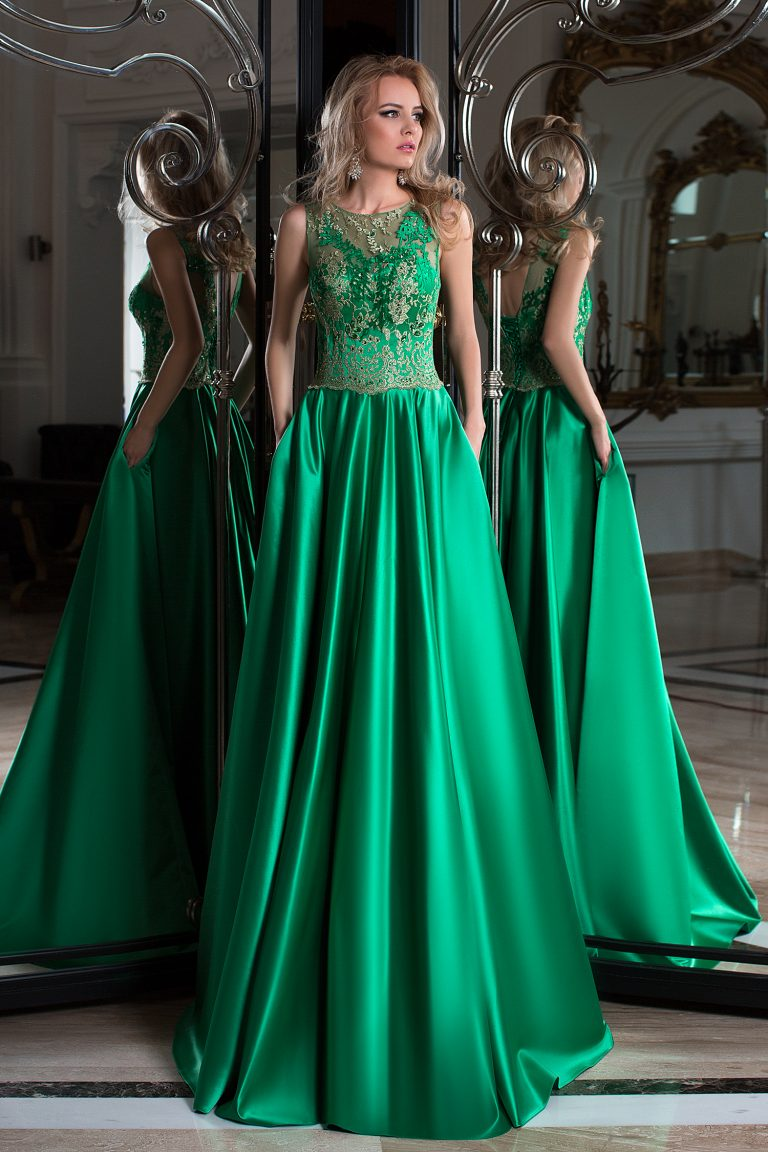 Robe de soirée longue verte