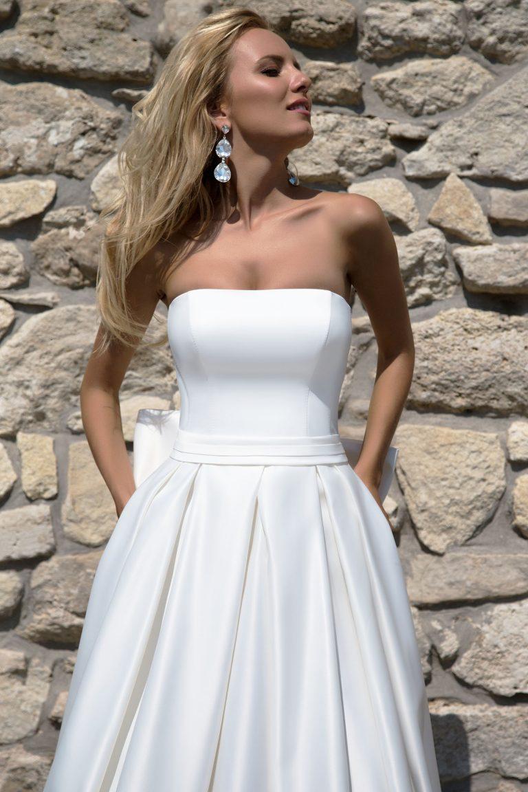 Robe de mariée en satin duchesse