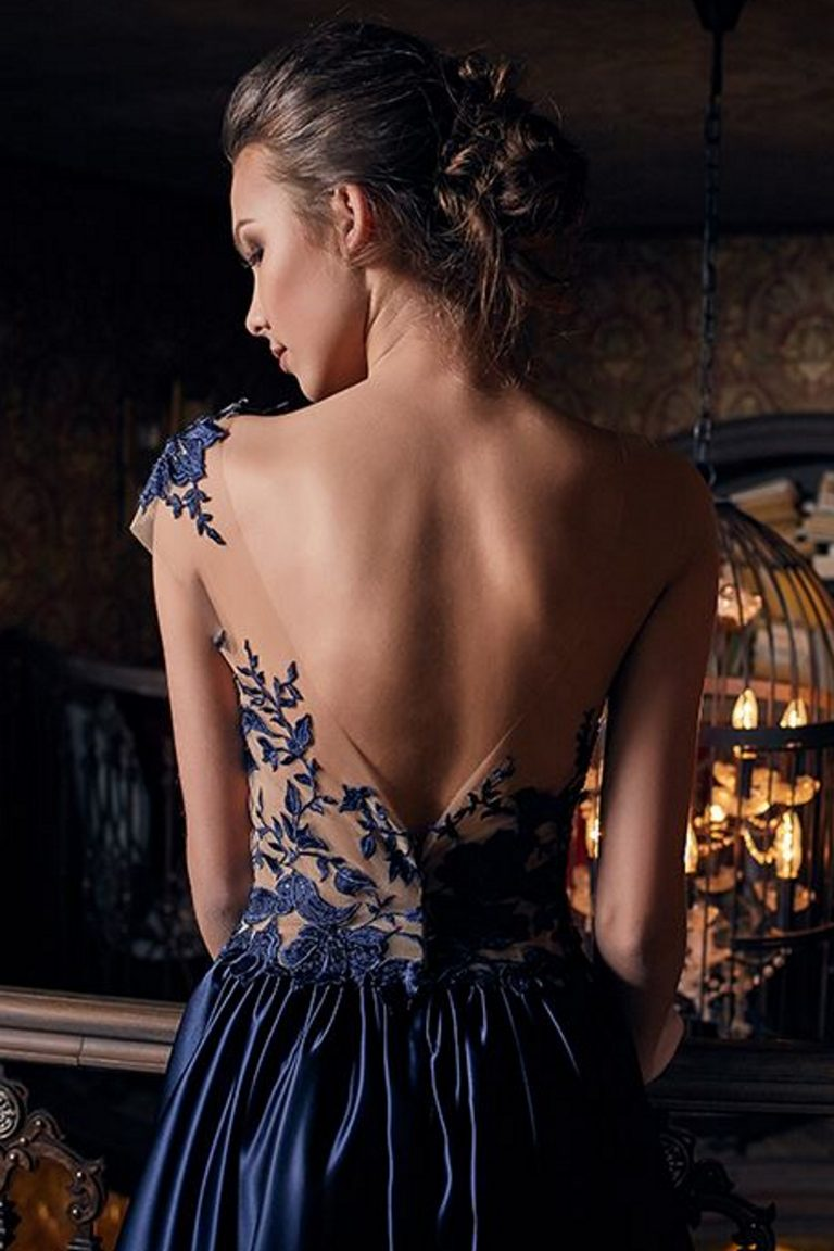 robe de soiree bleue de luxe satin duchesse semi transparente