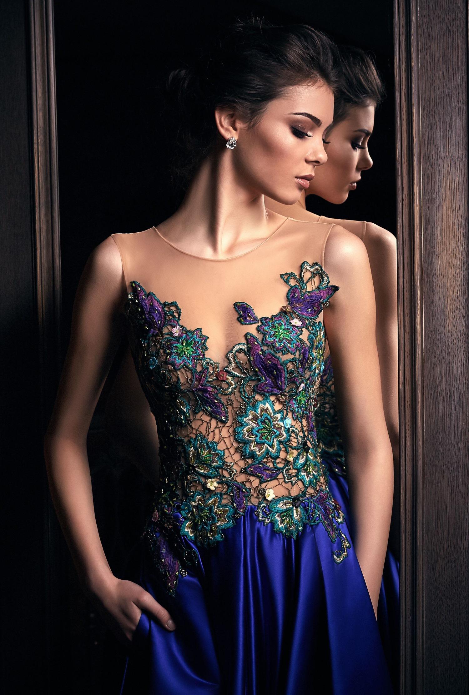 robe de soirée émeraude et saphir