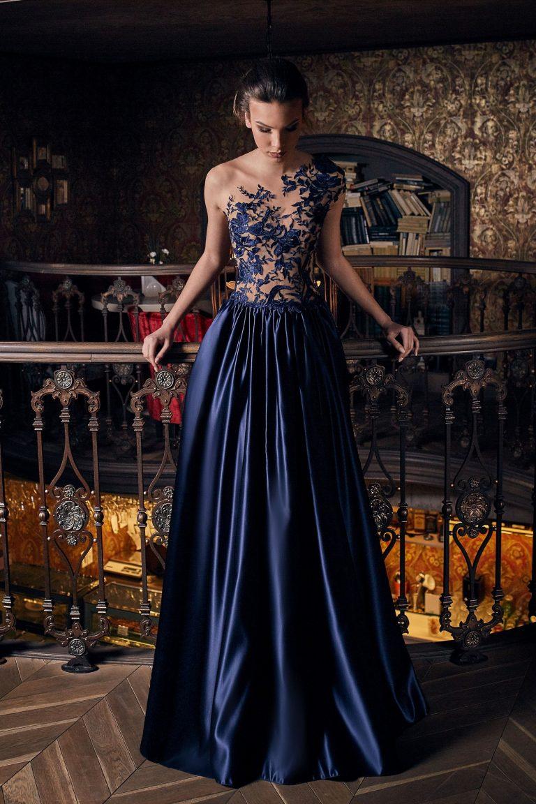 Robe de soirée de luxe bleu nuit