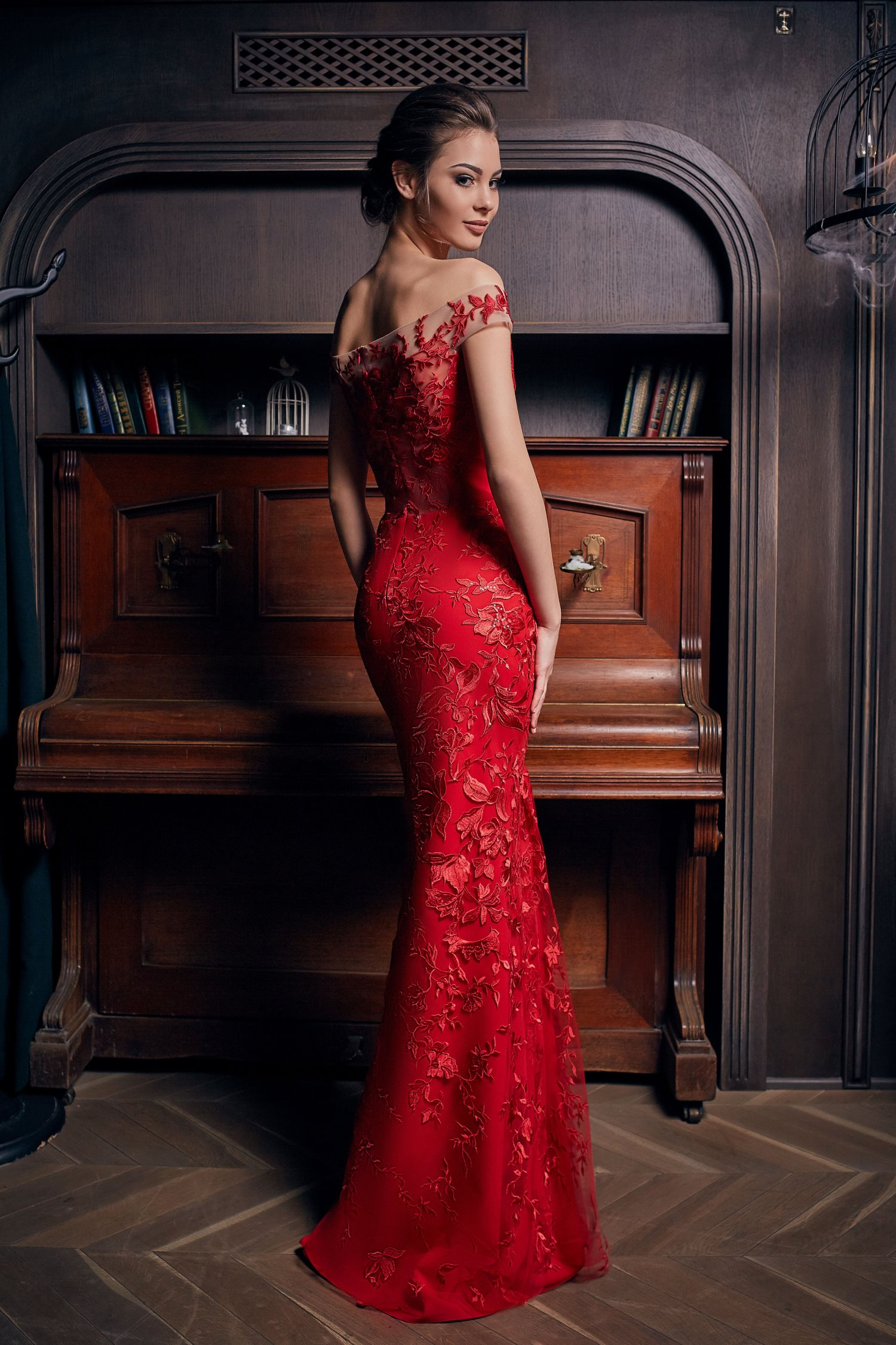 robe de soirée de luxe rouge sirène Paris