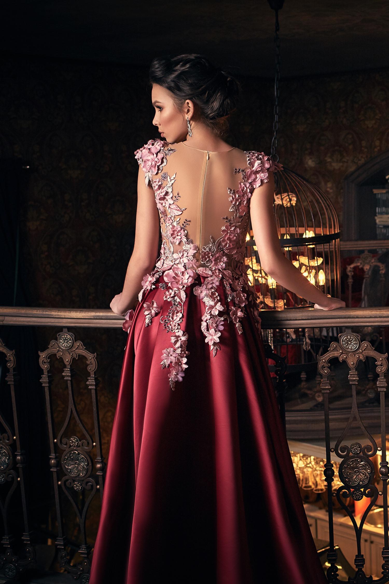 robe de soirée luxe rose et pourpre Paris