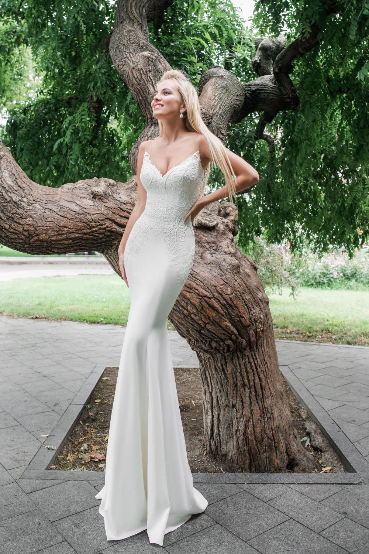 robe de mariee fourreau crepe de soie