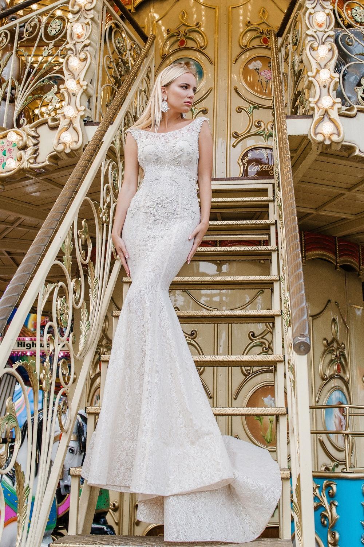 Robe de mariée fourreau en dentelle
