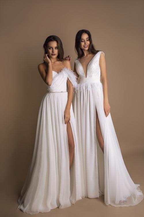 Robes de mariée à plumes
