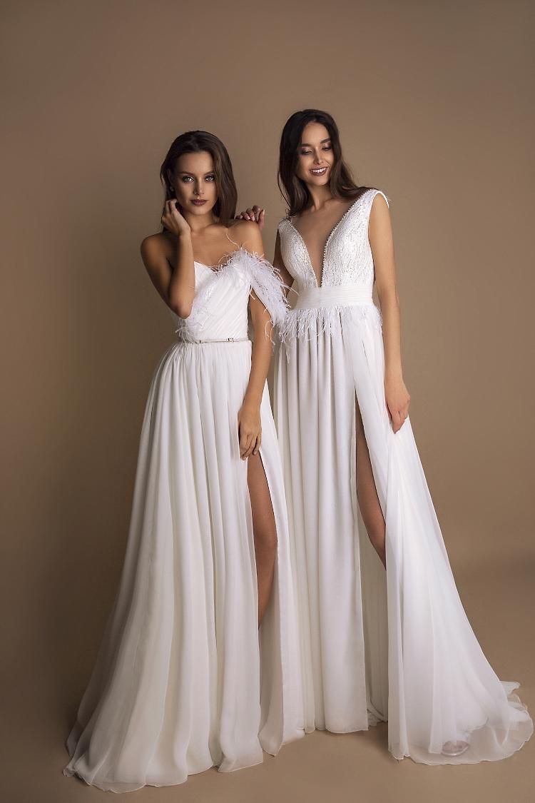 robe de mariee avec plumes