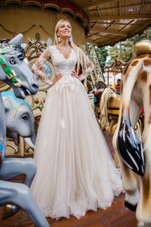 Robe de mariée A-line manches longues