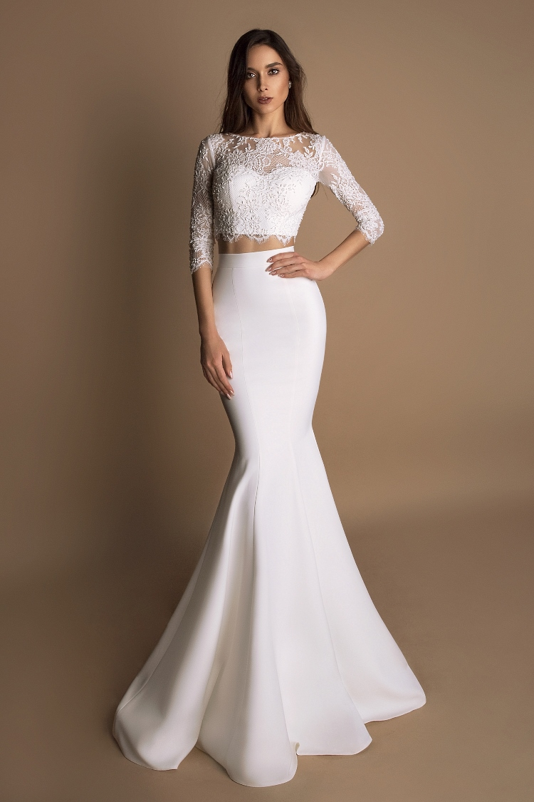 robe de mariee fourreau avec manches longues