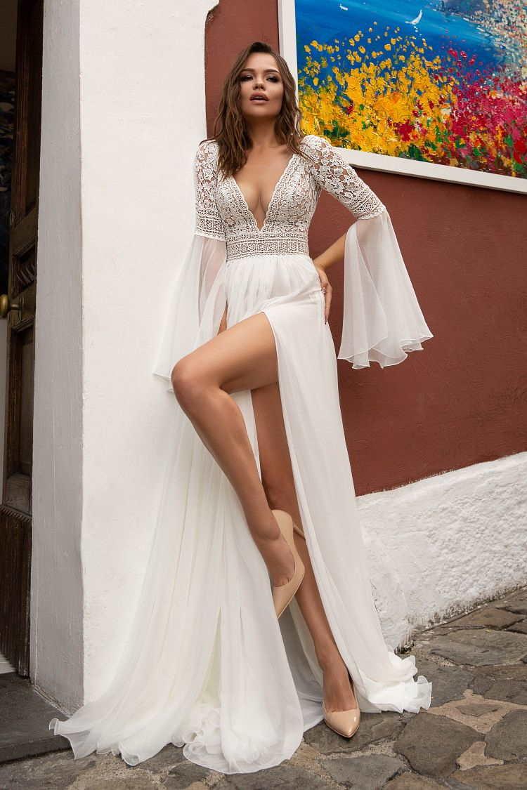 Robe de mariée jupe fendue