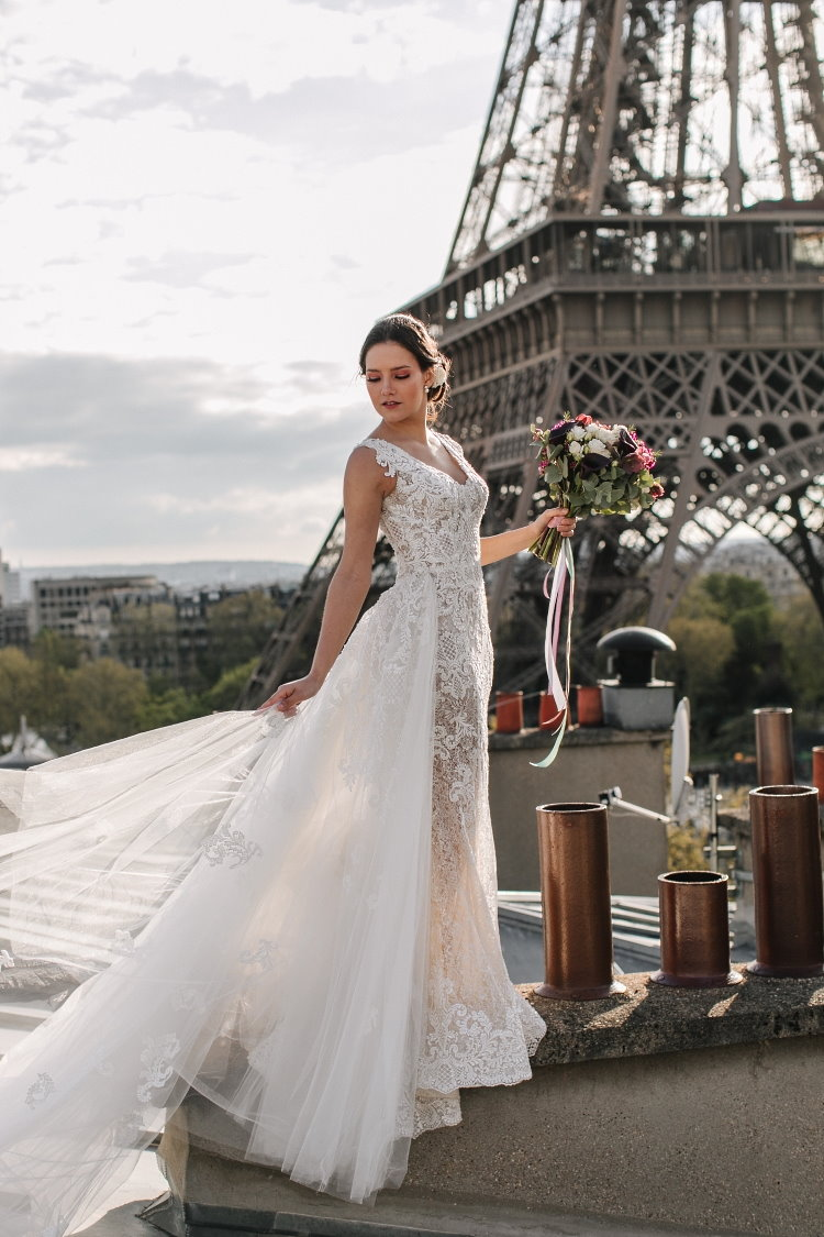 Robe de mariée traîne amovible