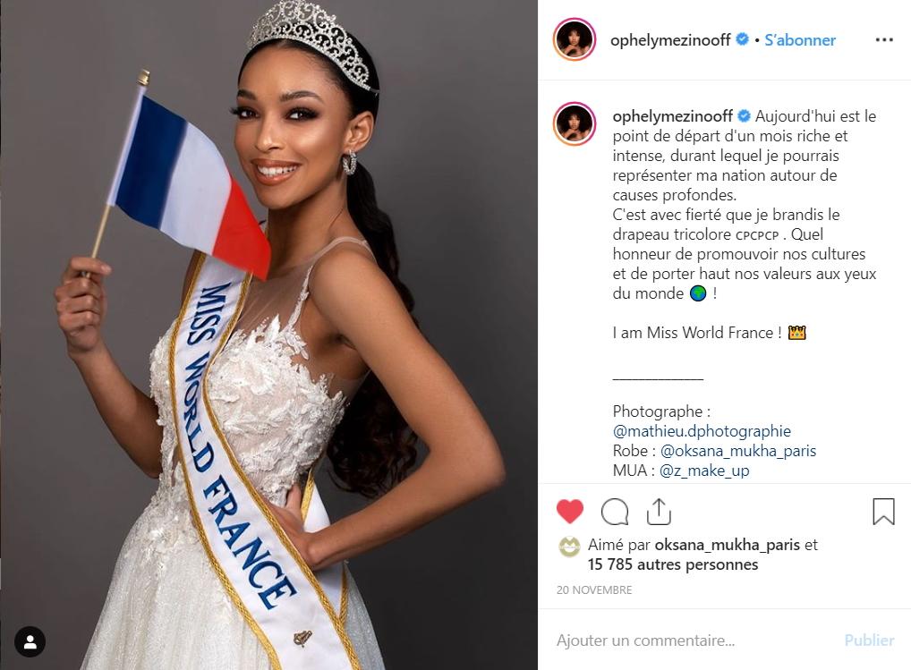 Miss Monde France - Ophely Mezino