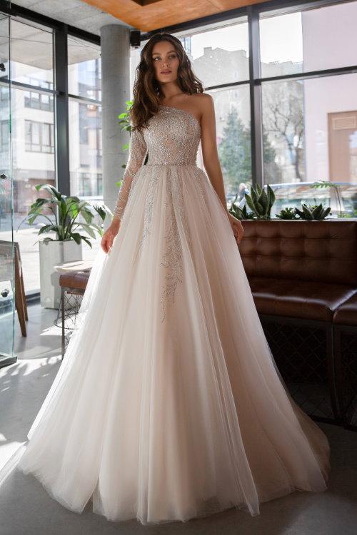 Robe de mariée haut asymétrique