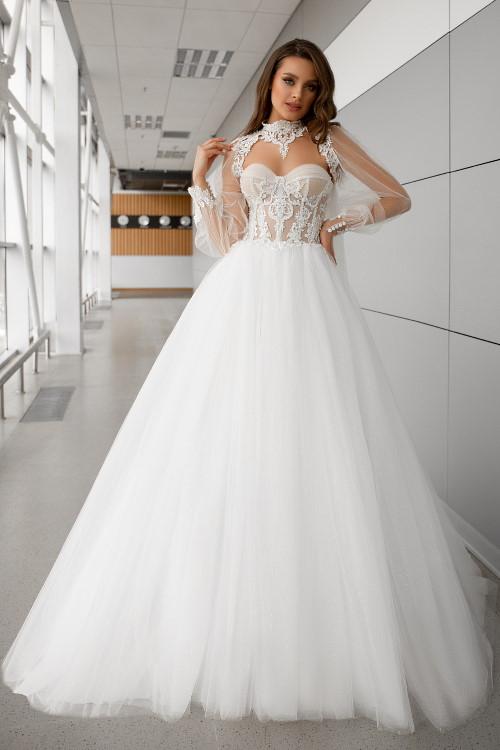 Robe de mariée à manche bouffante