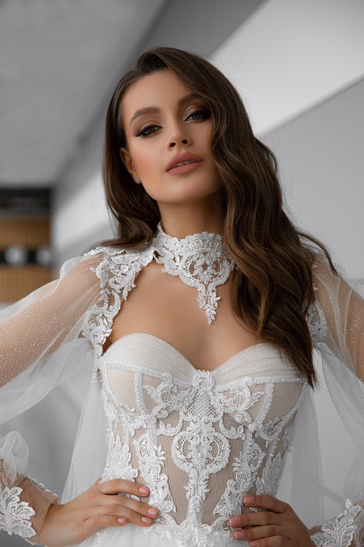 robe de mariee manches bouffantes transparentes