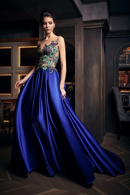 Robe de soirée longue bleue