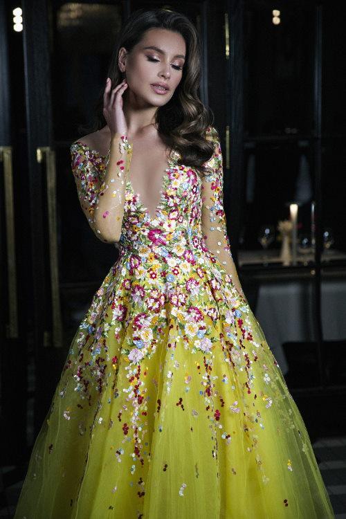 Robe de soirée multicolore