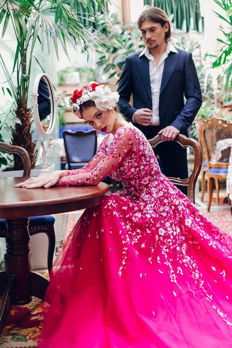 robe de soiree a fleurs rose