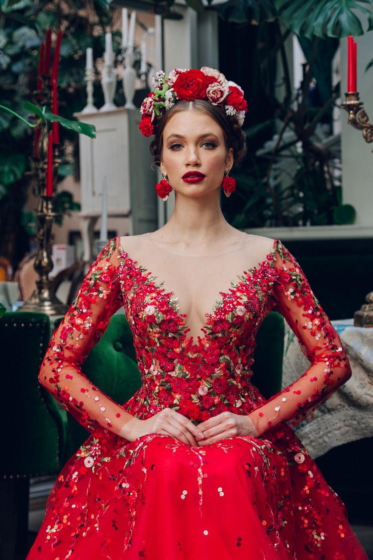 robe de soiree brodee de fleurs