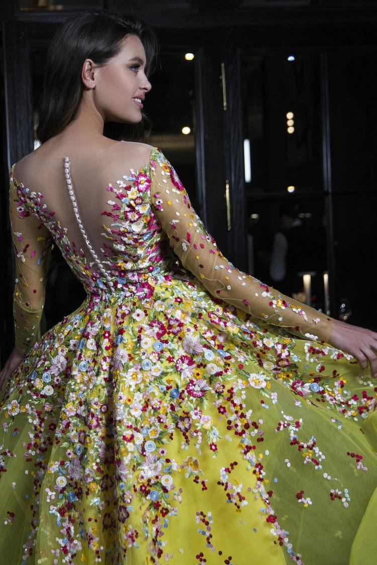 robe de soiree dos en v jaune