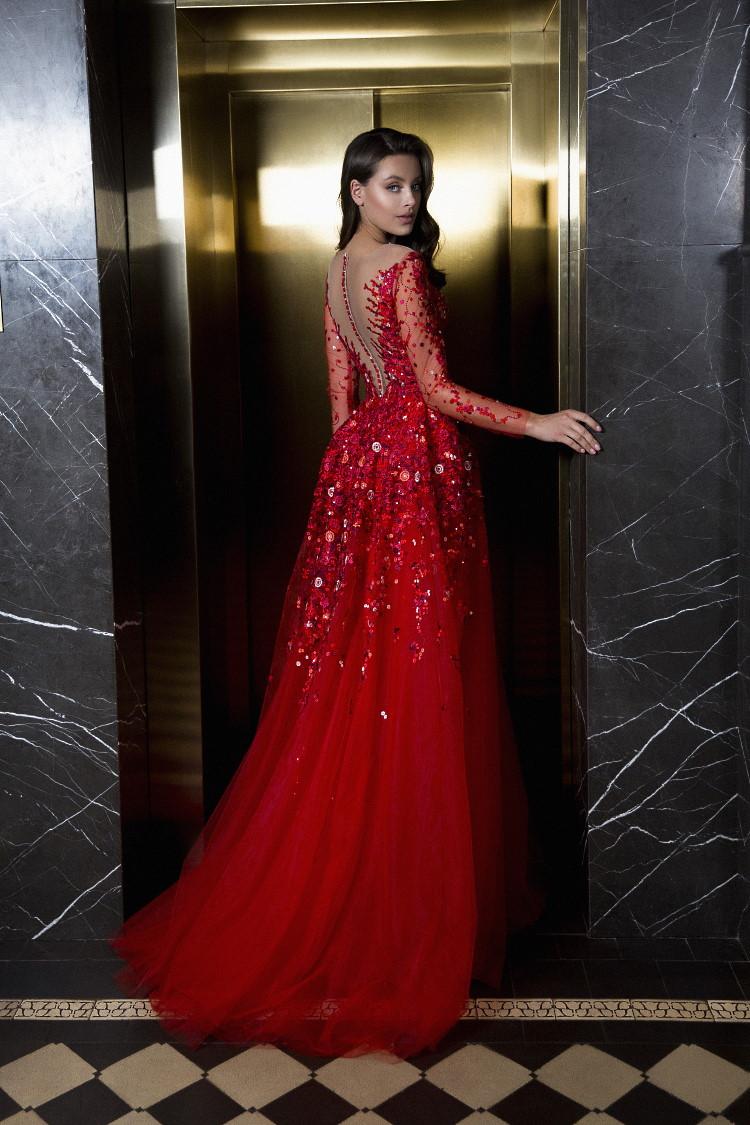 robe de soiree dos en v rouge