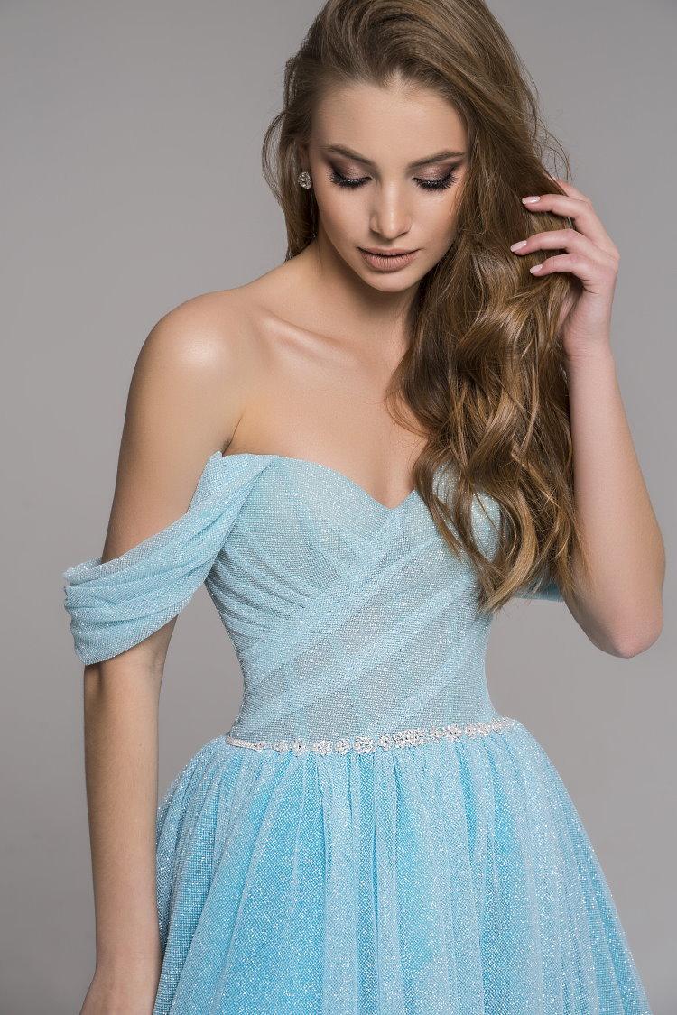 robe de soiree gala habillee bleu ciel pailletee