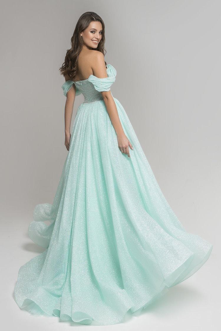 robe de soiree pailletee vert tendre