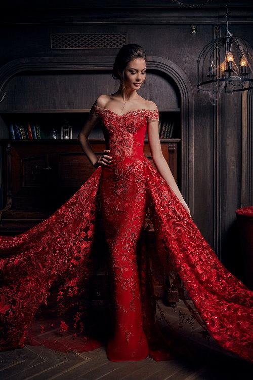 Robe de soirée longue rouge sirène