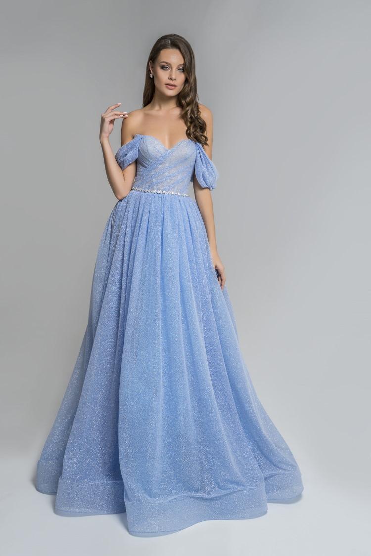 robe pailletee habille bleue - soiree ceremonie mariage gala