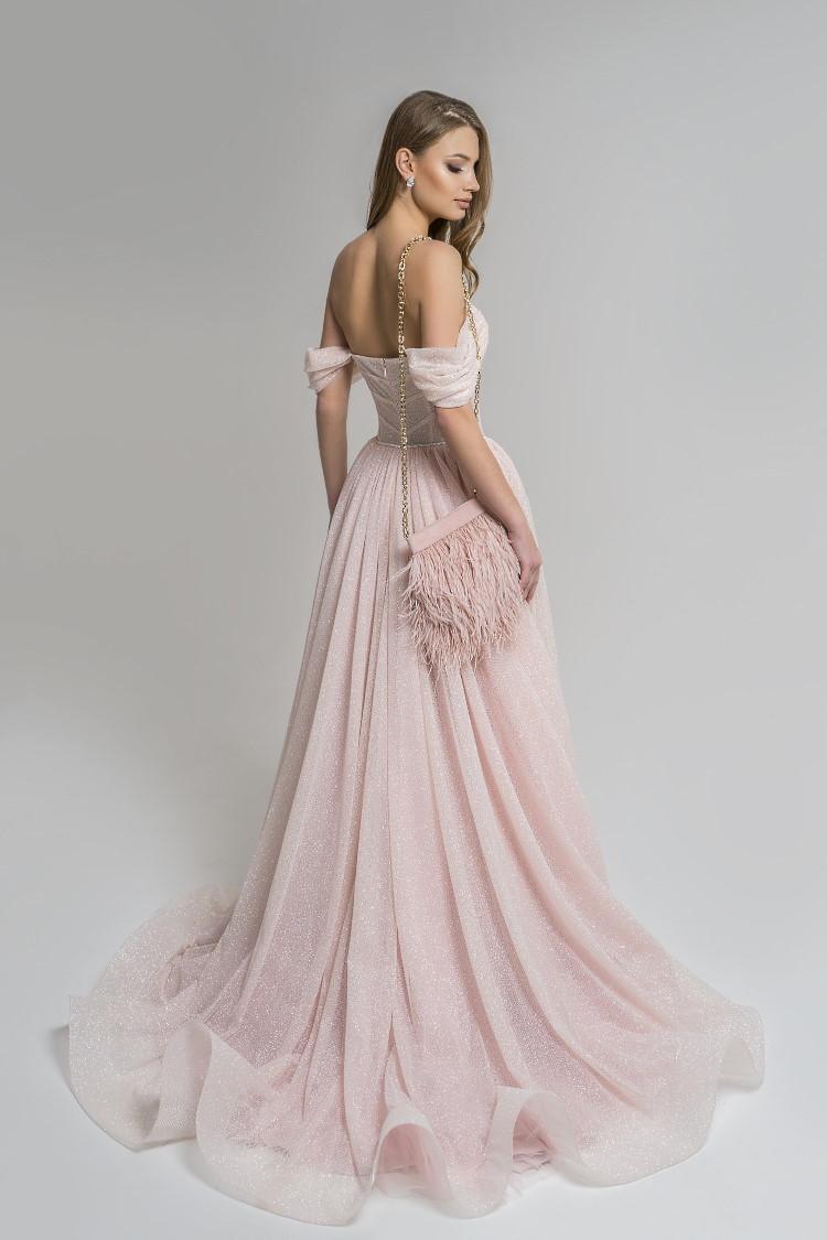 robe toute pailletee rose tendre sur mesure - soiree gala mariage ceremonie