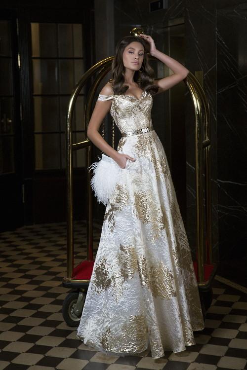 Robe de fête blanc et or
