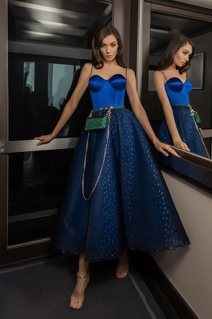 robe de soiree habillee bleue
