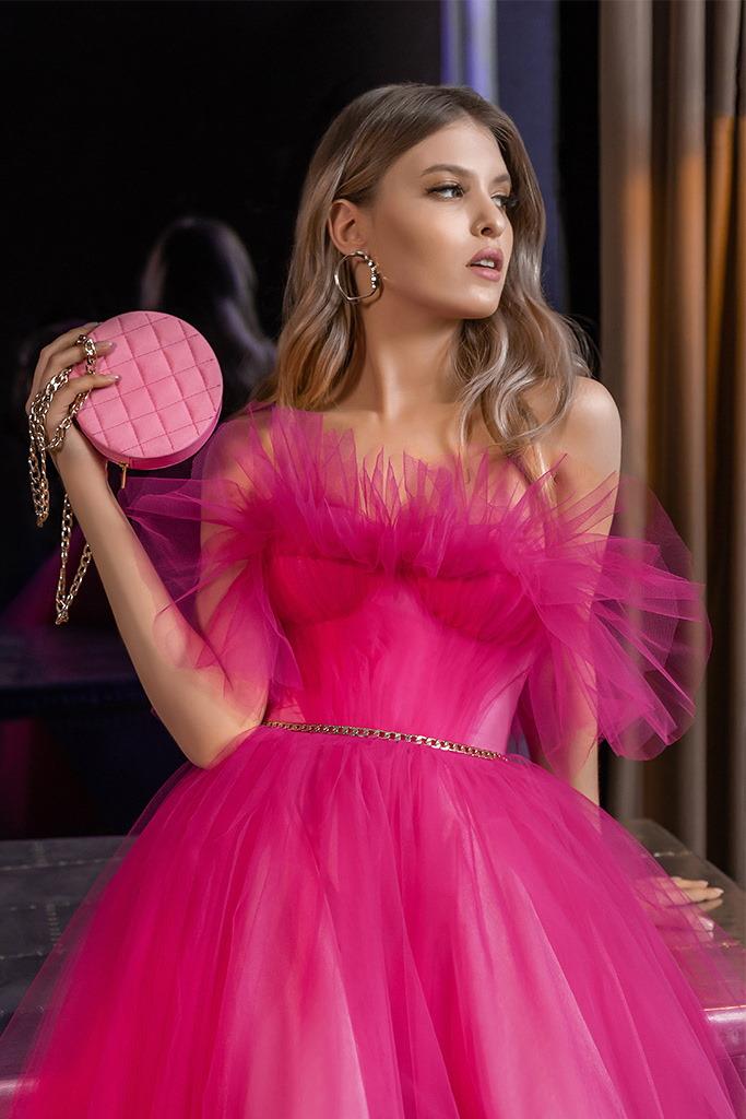 robe de soiree rose barbie fuschia