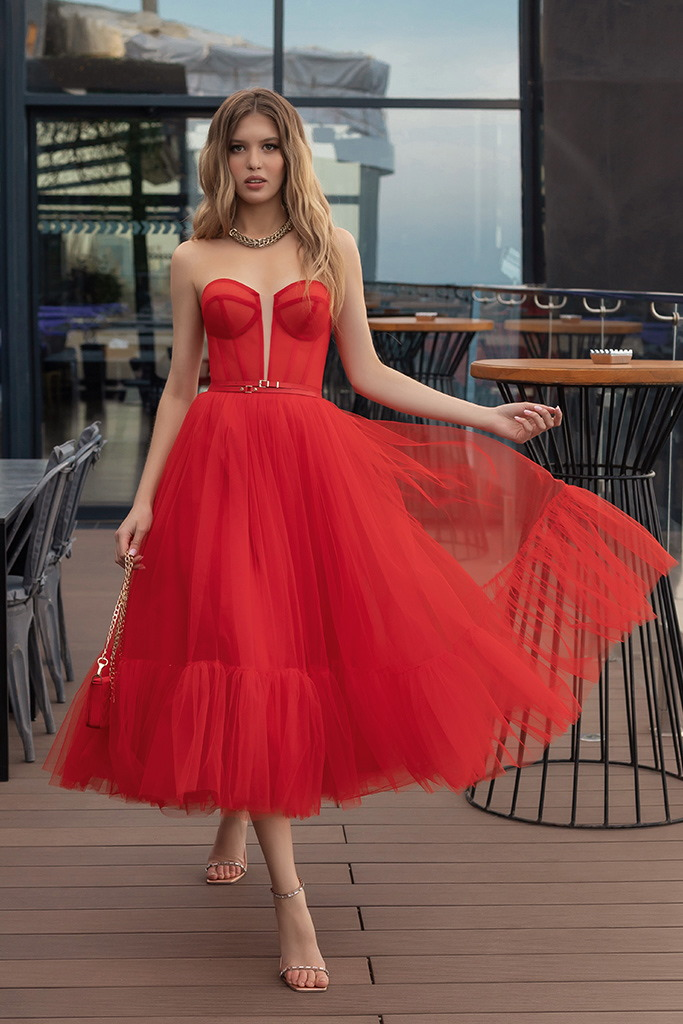 robe jupe patineuse rouge