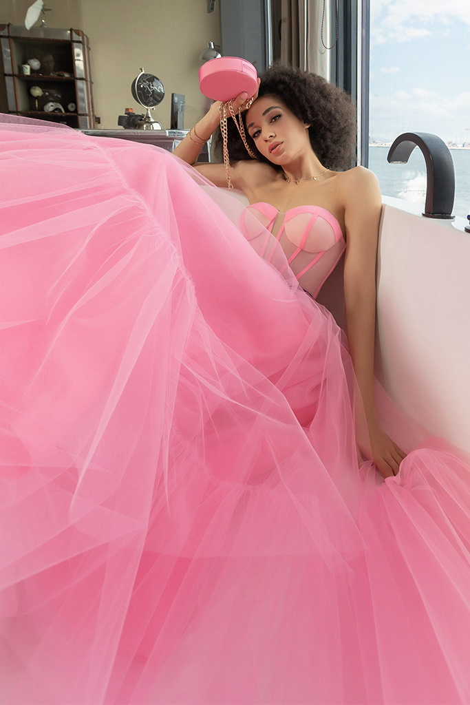 robe mousseline de soir rose